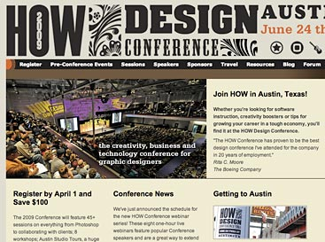Screen grab of HOW Conference website