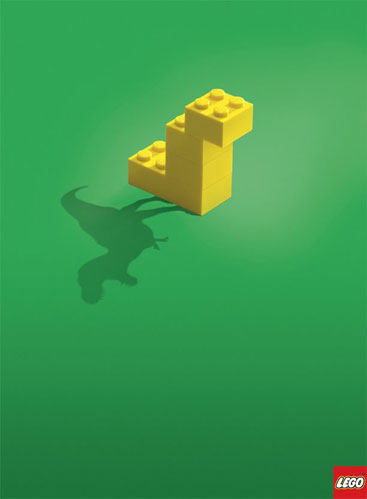Lego ad showing a simple block with life-like shadow