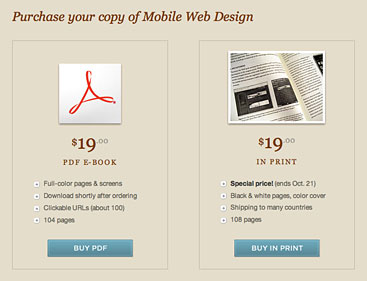 Mobile Web Design screen showing PDF and print versions