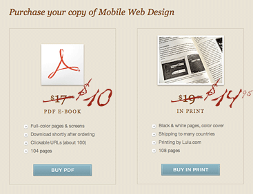 Mobile Web Design pricing reduced to $10 PDF version and $14.95 print version