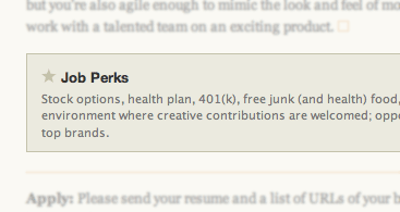 Screen grab showing Job Perks