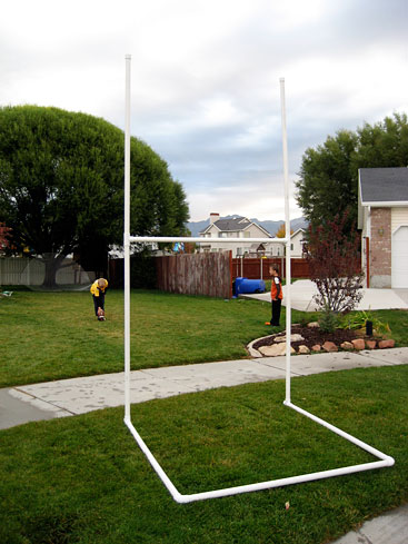 Homemade football/rugby uprights using PVC pipe