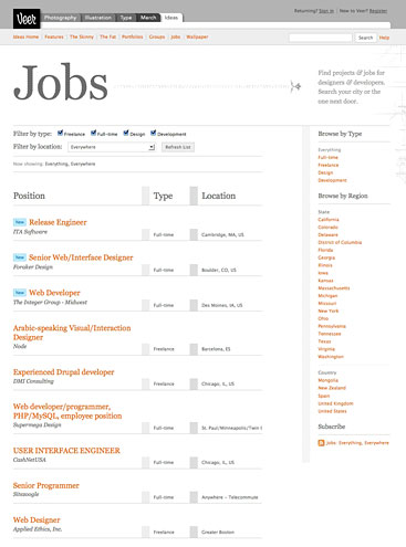 Screen showing Authentic Jobs listings now appear on Veer.com