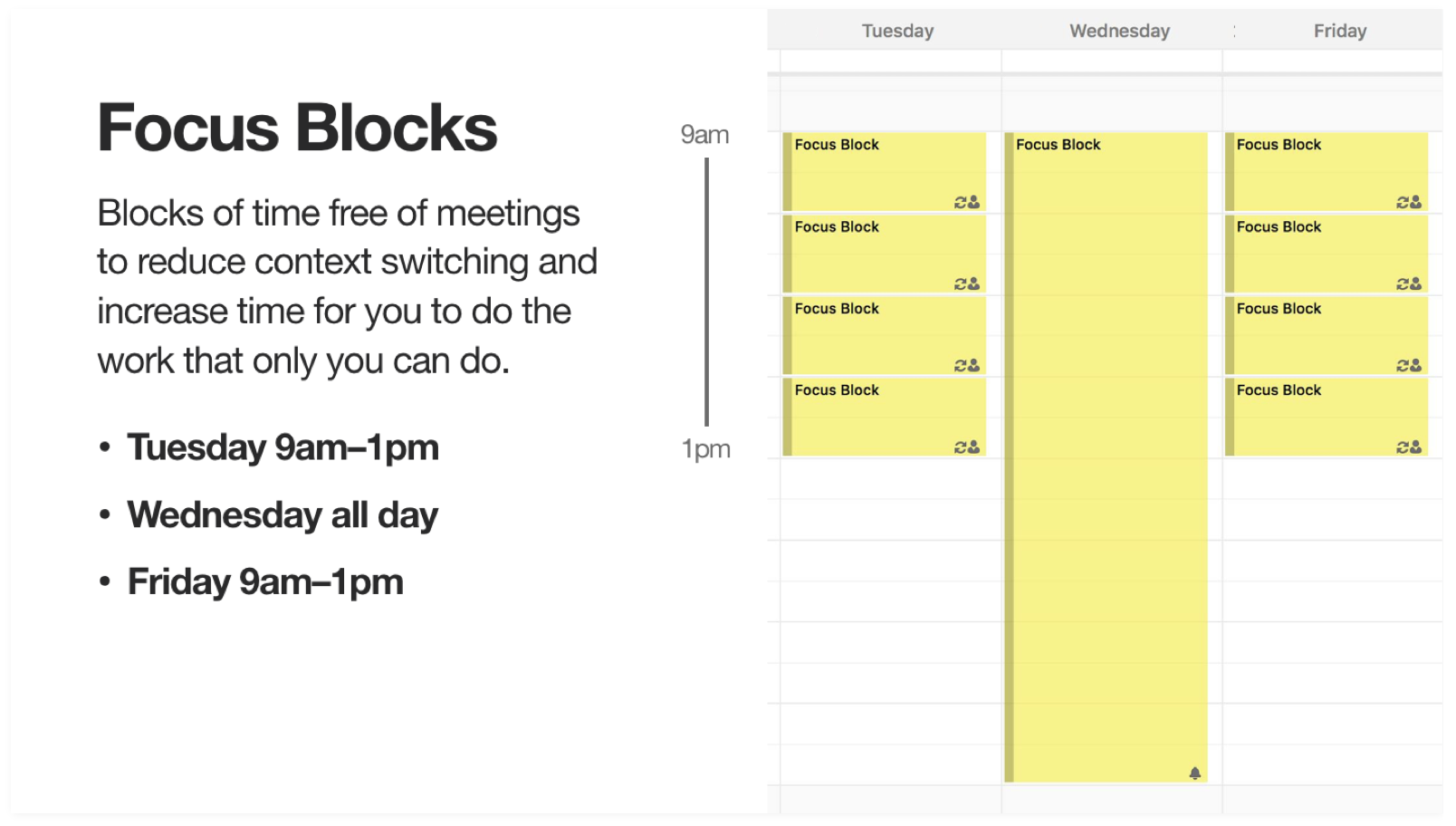 Screenshot showing calendar focus blocks on Tuesdays and Fridays 9am-1pm and Wednesdays all day